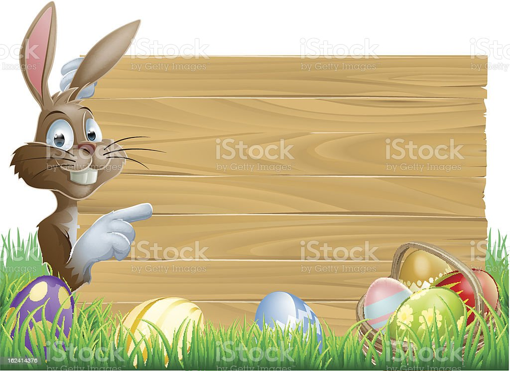 Easter Eggs Wooden Sign royalty-free stock vector art