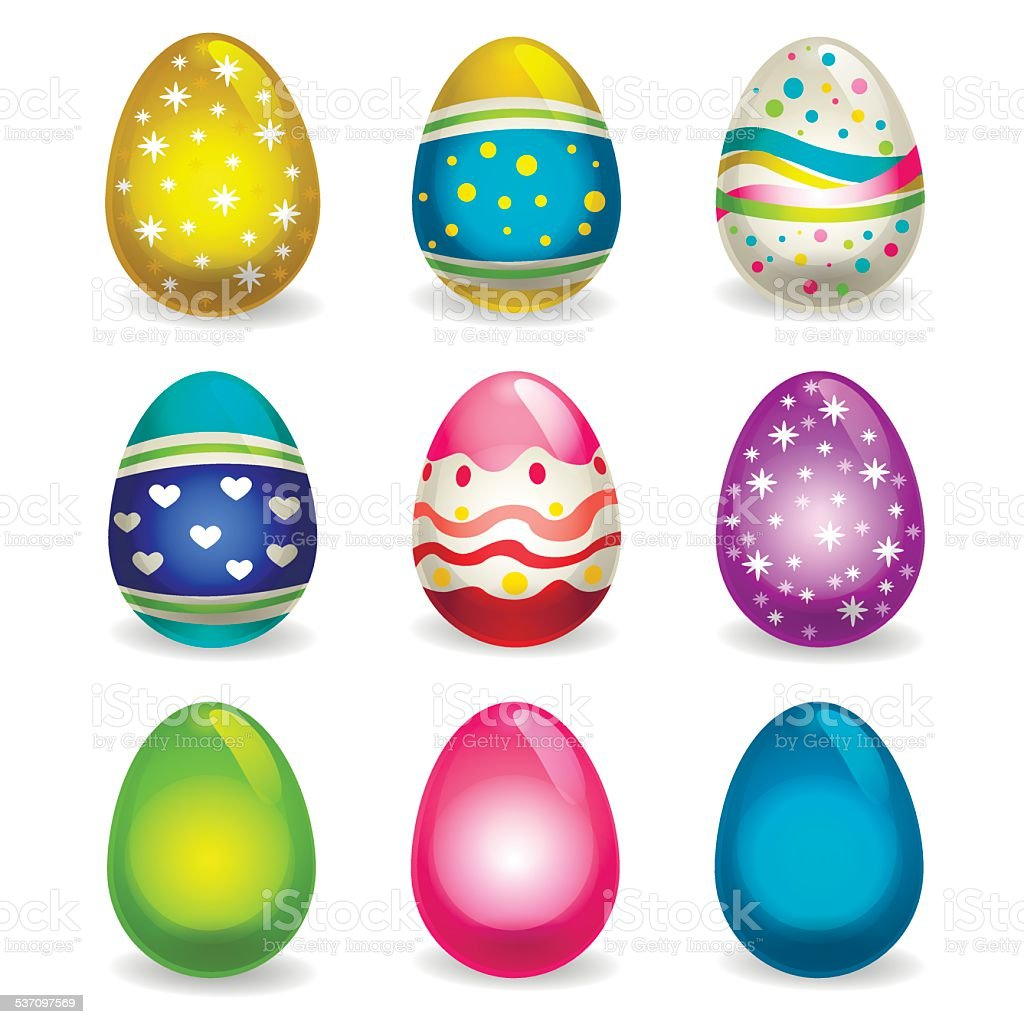 Easter eggs2 vector art illustration