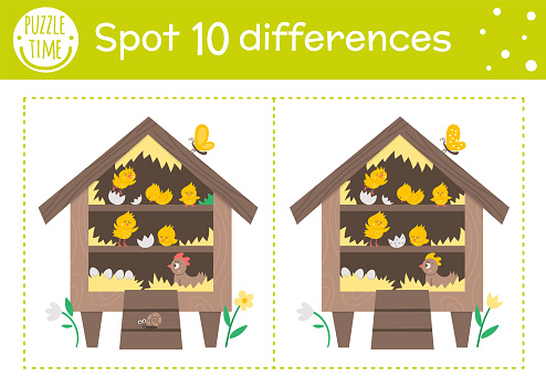 Easter find differences game for children. Holiday educational activity with hen coop and chickens. Printable worksheet with cute hatching chicks. Spring puzzle for kids.