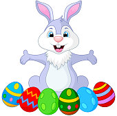Vector illustration of Easter funny rabbit with eggs
