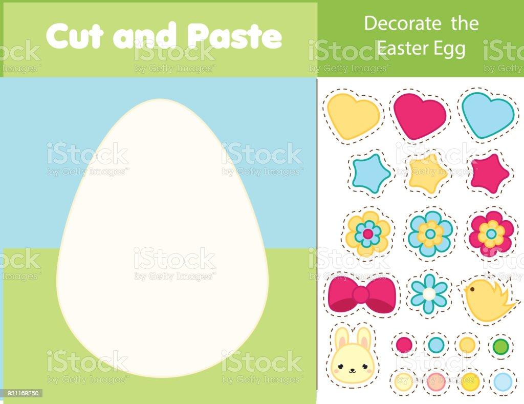Easter Game Children Educational Game Cut And Paste Type Decorate ...