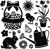 Vector design elements with an Easter garden theme.