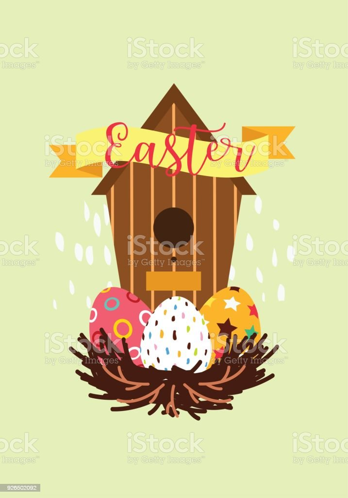 Easter gift card in flat design stock vector art more images of easter gift card in flat design royalty free easter gift card in flat design stock negle Images