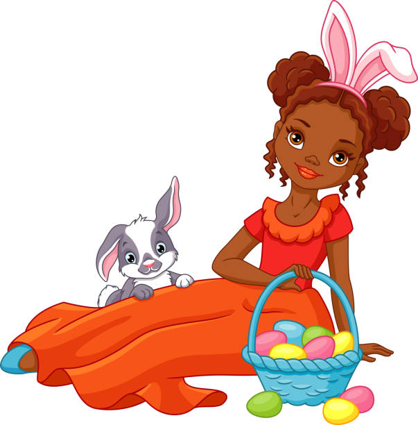 Easter Girl and Bunny vector art illustration