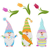 Easter gnomes and spring flowers tulips, cute character, vector illustration, clipart, scrapbooking, holiday design