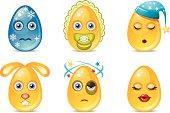 Easter gold egg emoticons set 3