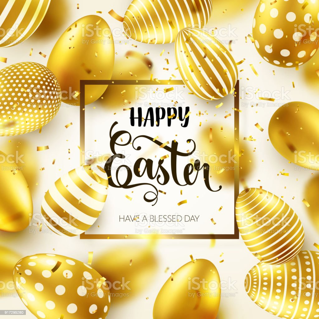 Easter golden egg with calligraphic lettering greetings traditional easter golden egg with calligraphic lettering greetings traditional spring holidays in april or march m4hsunfo