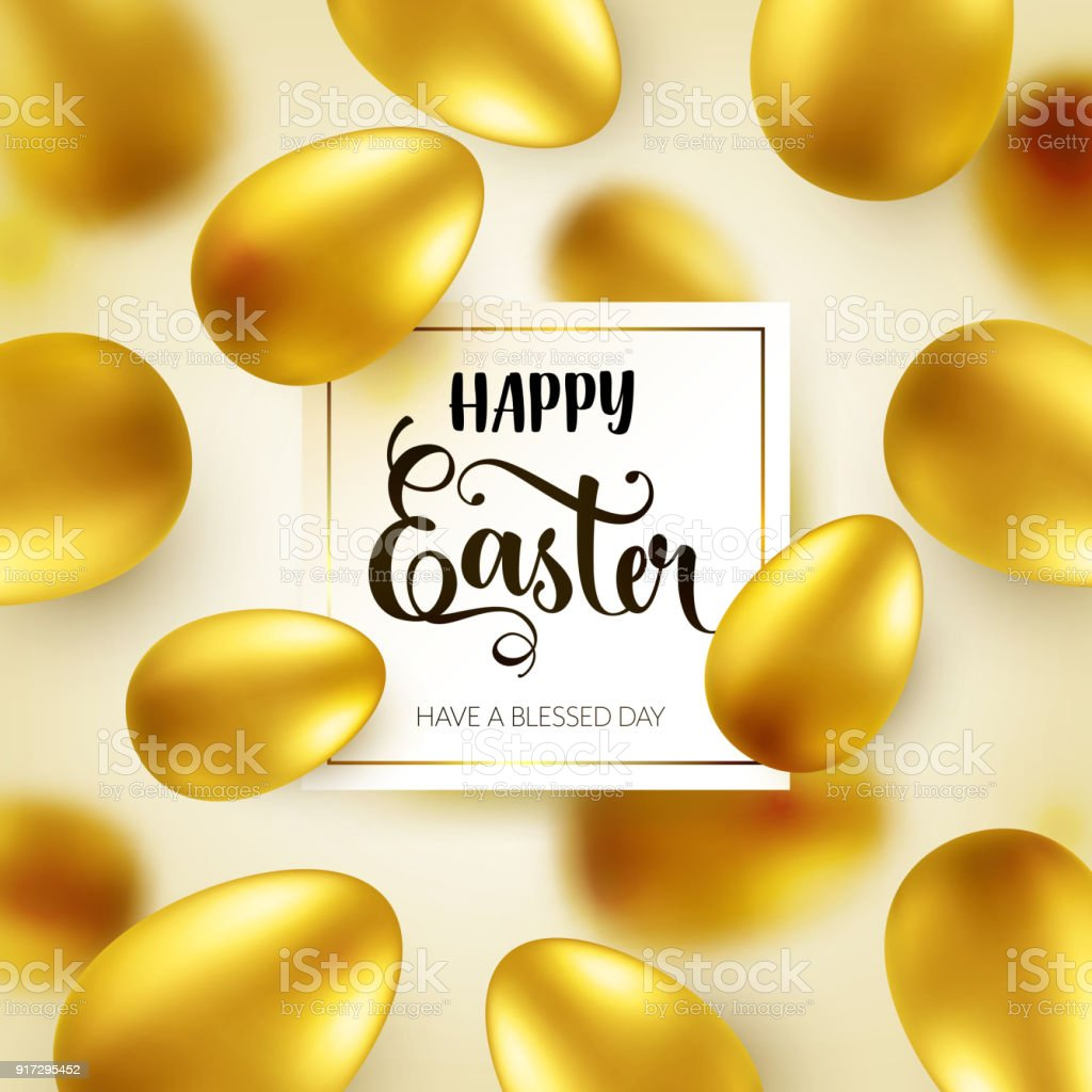 Easter Golden Egg With Calligraphic Lettering Greetings Traditional