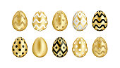 Easter golden eggs set. Realistic 3D eggs with black, white and glitter gold ornament isolated on white background. For greeting card, ad, promotion, poster, flyer, web banner