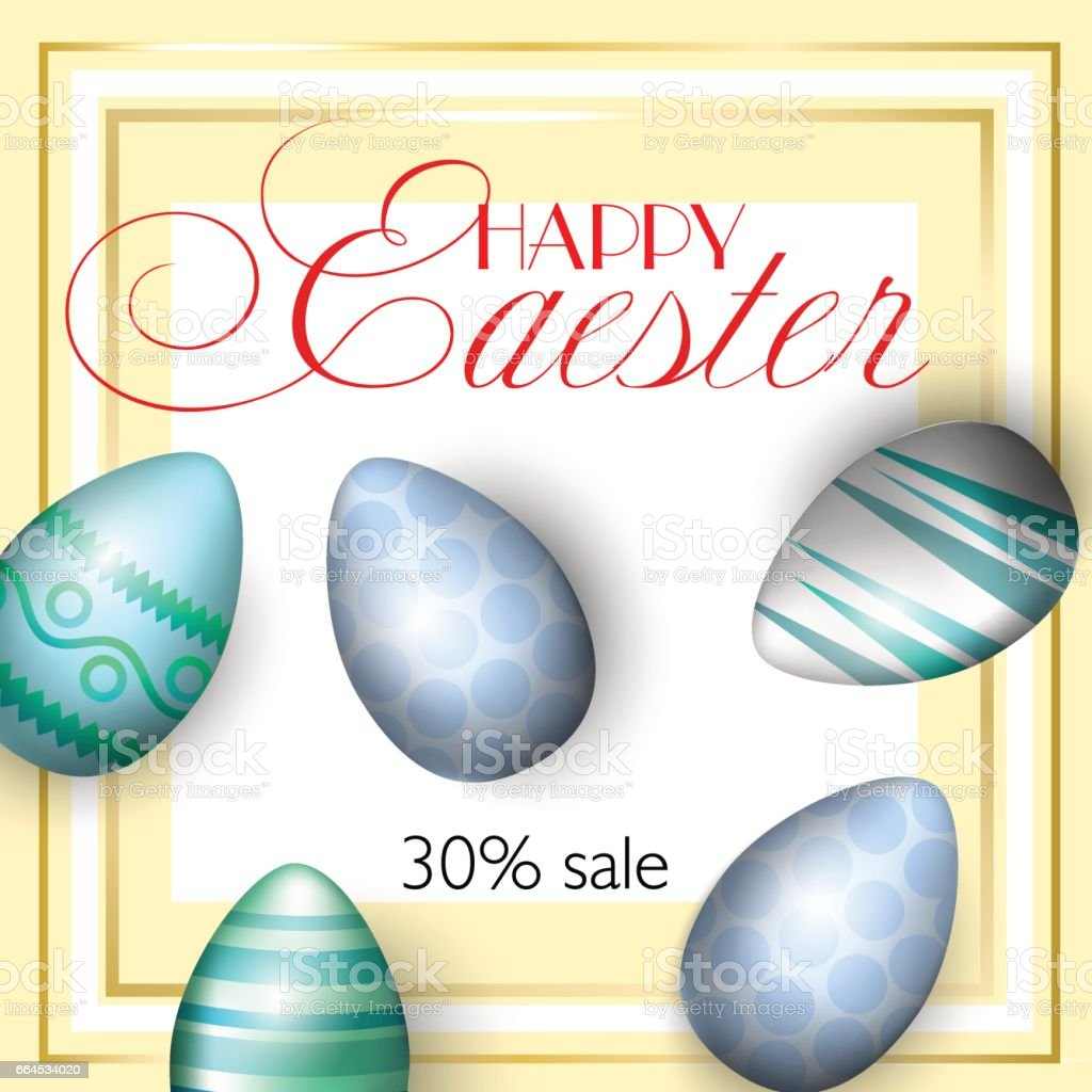 Easter greating cards, realistic Easter eggs on a bright background with blue peas, elements of gold. Caption: 30 sale. Vector illustration. royalty-free easter greating cards realistic easter eggs on a bright background with blue peas elements of gold caption 30 sale vector illustration stock vector art & more images of beauty
