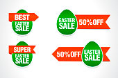 Easter green sale tag set. Green eggs with red ribbons. Vector illustration