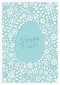 Easter greeting card with flower frame - Illustration
