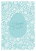 Easter greeting card with flower frame - Illustration