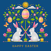 Easter greeting card with ornament in unusual style. Has dot texture, easy to use and modify. Easter bunnies with paint brushes, sitting under blooming tree, decorated with colored eggs. Vector.