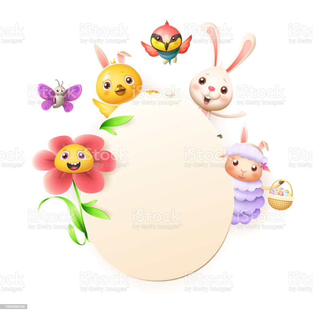 Easter Greeting Card Template Easter Bunny Chicken Flower
