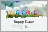 Easter watercolor greeting card made from hand drawn watercolor elements.