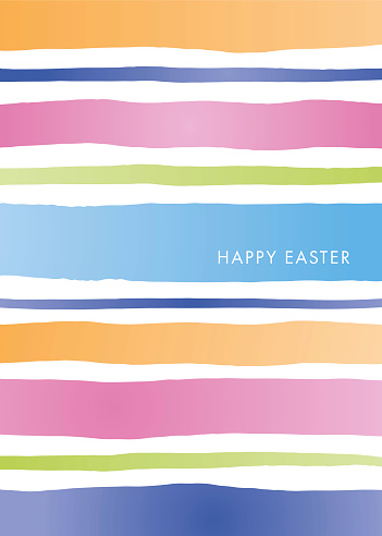 Easter Greeting Card template with stripes.