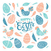 Vector Happy Easter greeting card with chicken and Easter decorative eggs and hand lettering isolated on white background.