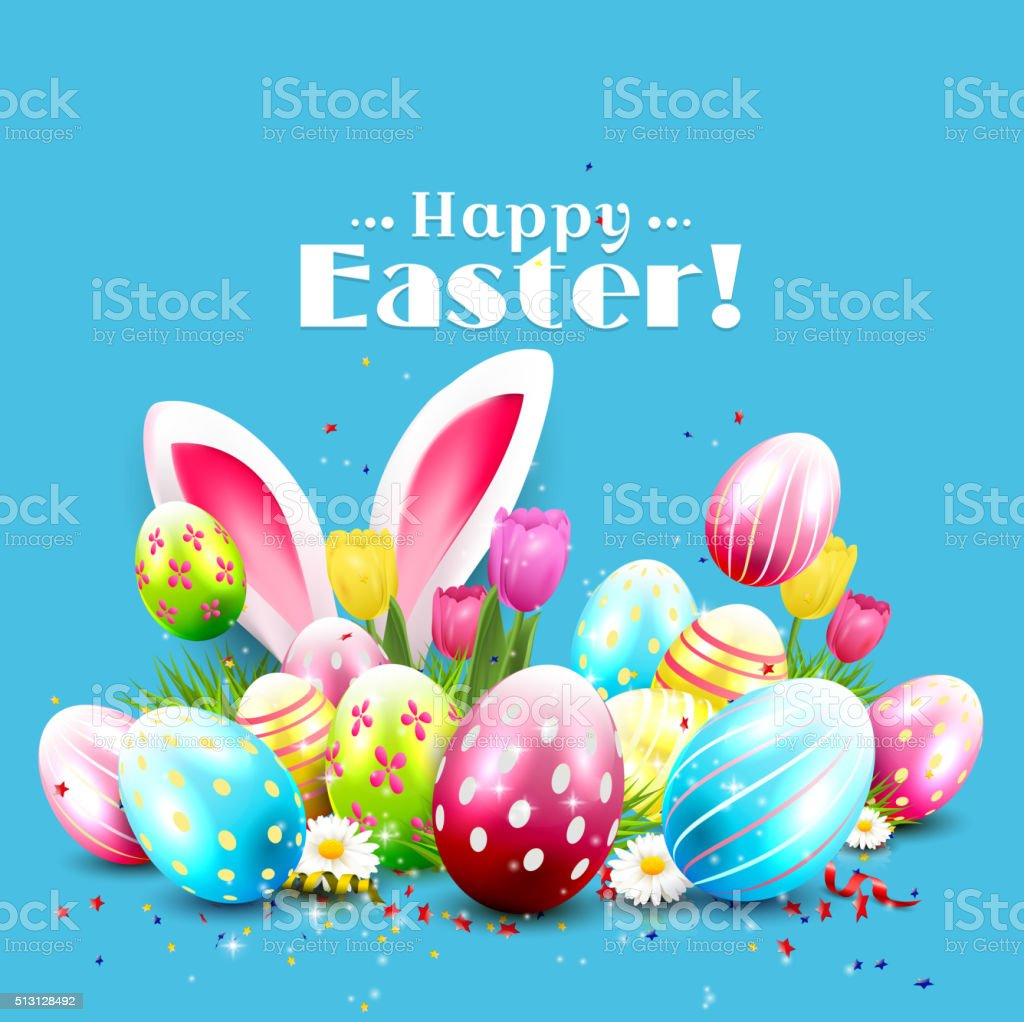 Easter greeting card vector art illustration
