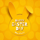 Easter greeting card. Easter greeting on a paper silhouette of rabbit head on a background with eggs. Vector illustration.