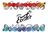Easter lettering with lineart easter icons and multicolored watercolor borders.