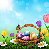 Vector illustration of Easter greeting card with a full basket of colorful eggs and flowers in the grass