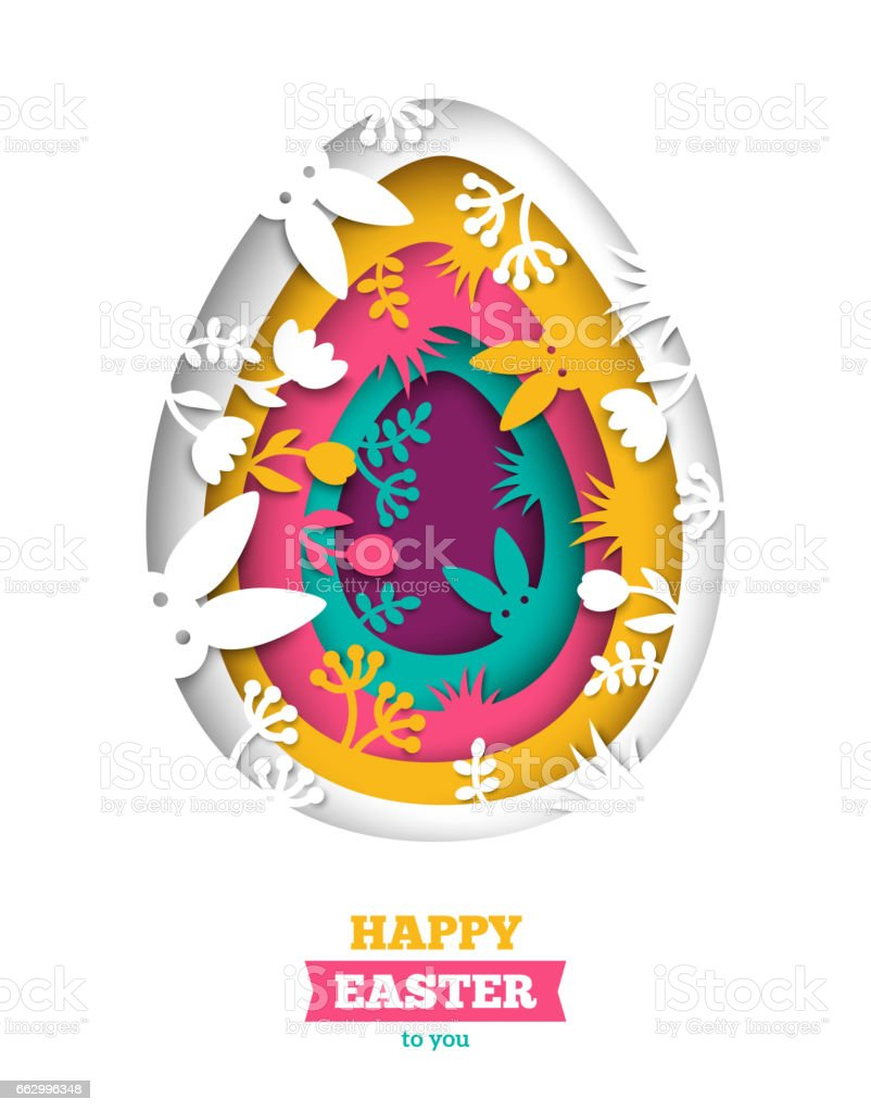 Easter greeting card with abstract carved egg vector art illustration