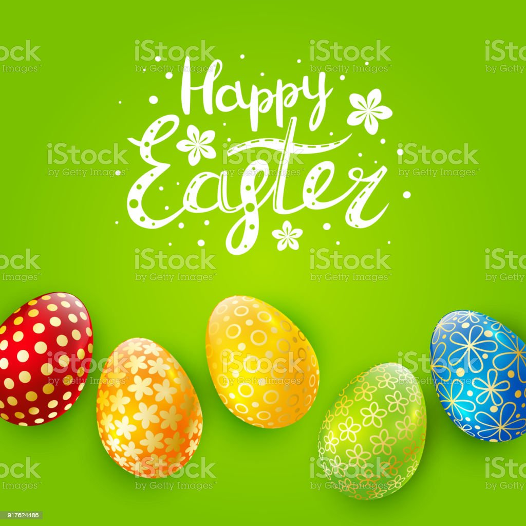 Easter Greeting Card With Color Eggs Stock Vector Art More Images