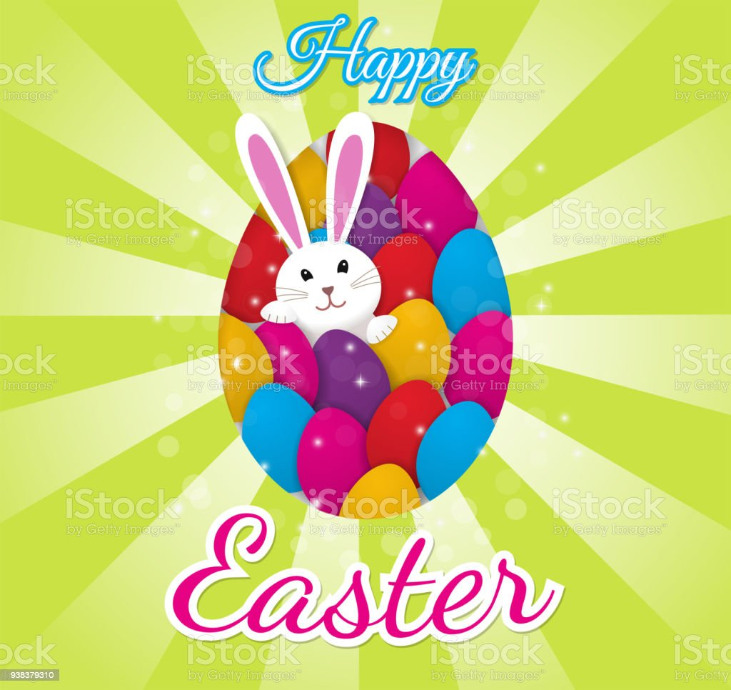Easter Greeting Card With Colorful Eggs And A Bunny Bunny Stock