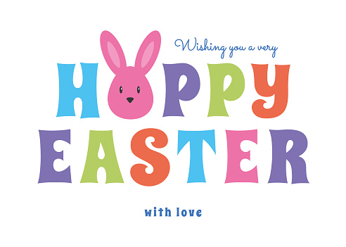 Easter greeting card with cute bunny. Hoppy Easter holiday card template. Vector illustration.