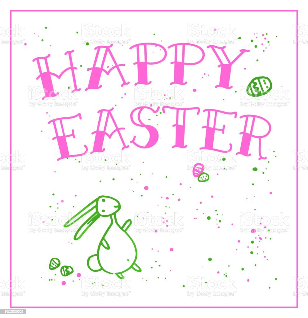 Easter Greeting Card With Doodle Rabbit Stock Vector Art More