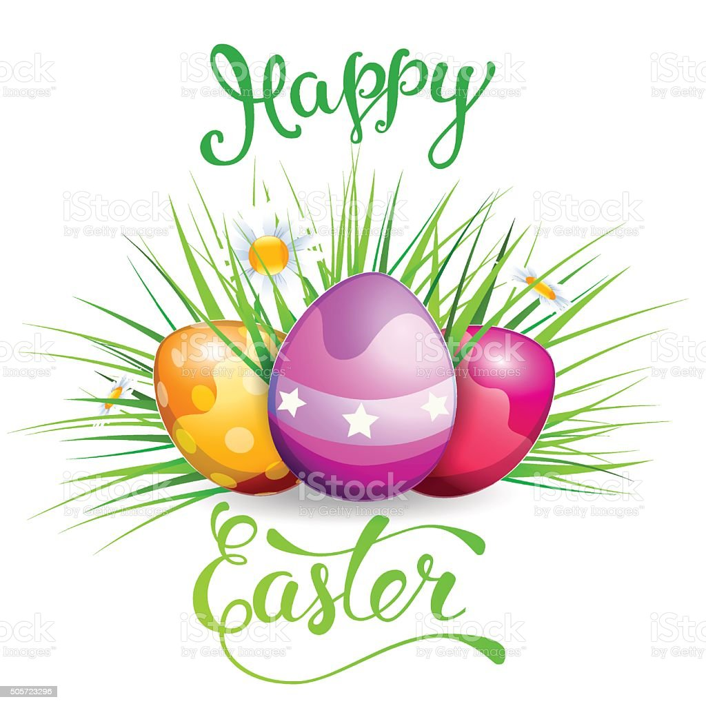 Easter Greeting Card With Easter Rabbit Easter Eggs And Origina