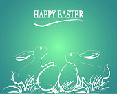 Easter greeting card with Easter rabbit, Easter eggs