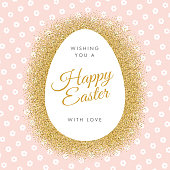 Easter greeting card with egg on glitter background. - Illustration
