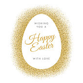 Easter greeting card with egg on glitter background - Illustration