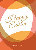 Easter greeting card with eggs frame. - Illustration
