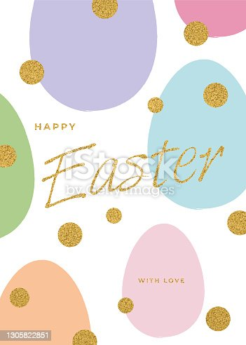 istock Easter Greeting Card with Eggs. 1305822851