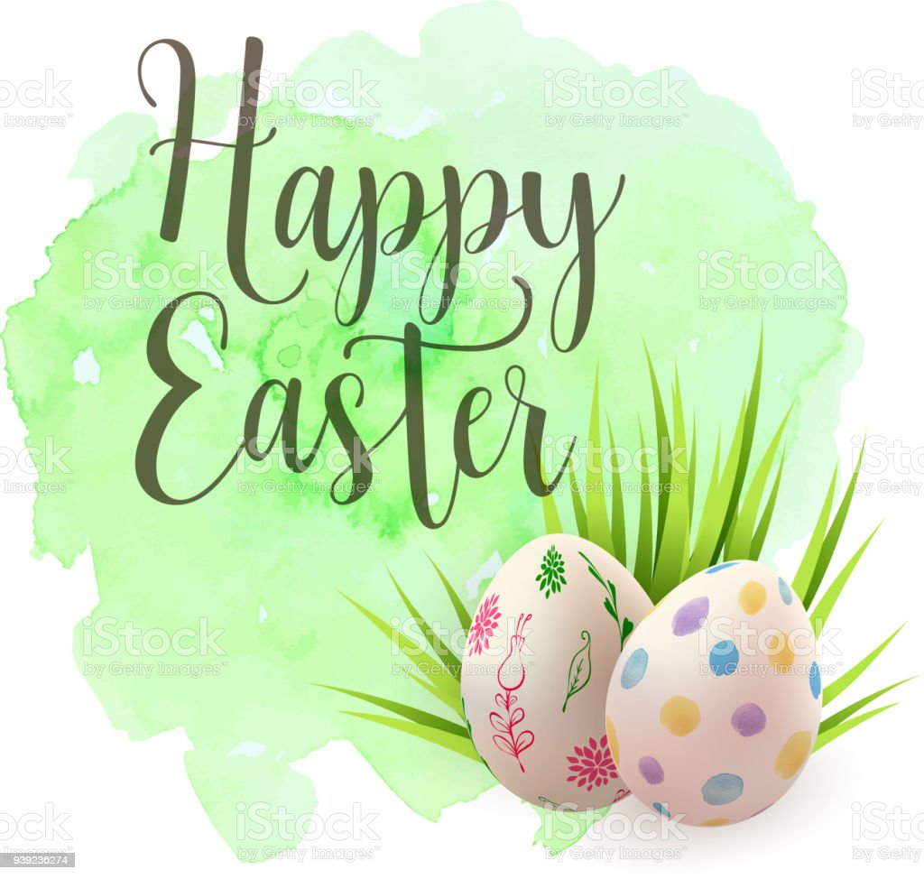 Easter Greeting Card With Eggs Stock Vector Art More Images Of