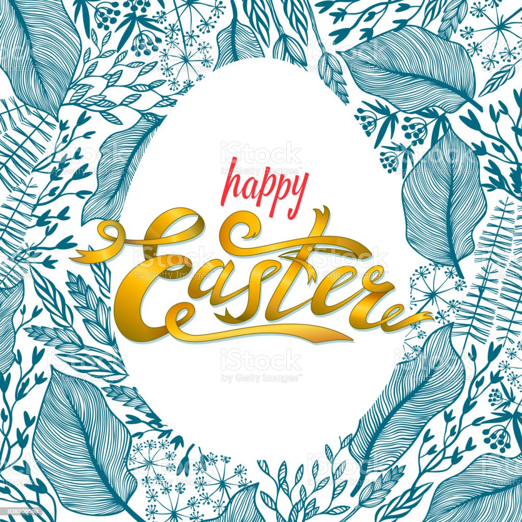 Easter Greeting Card With Floral Frame In Egg Shape Herbal