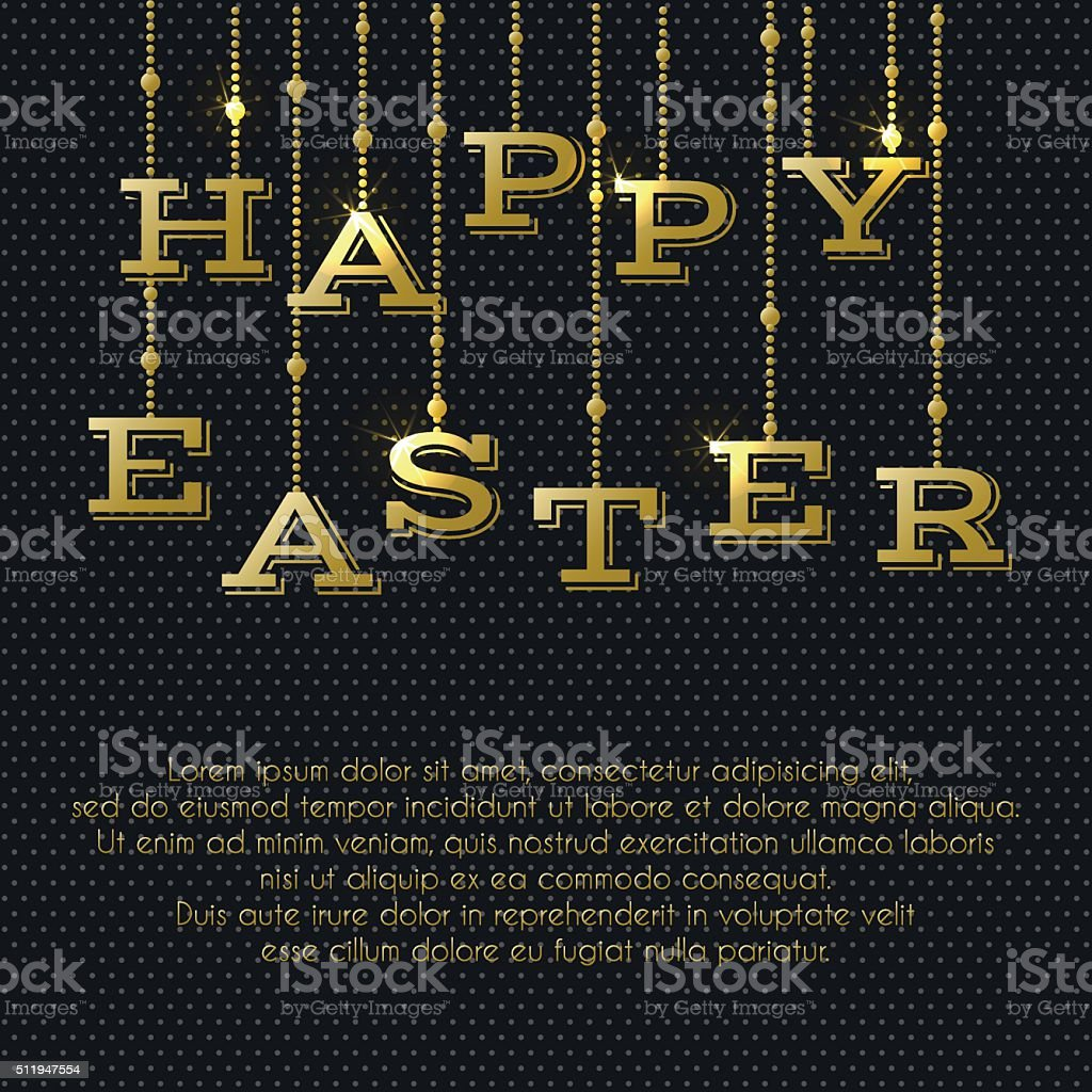 Gold Hanging Letters Easter Greeting Card With Gold Hanging Letters Stock Vector Art