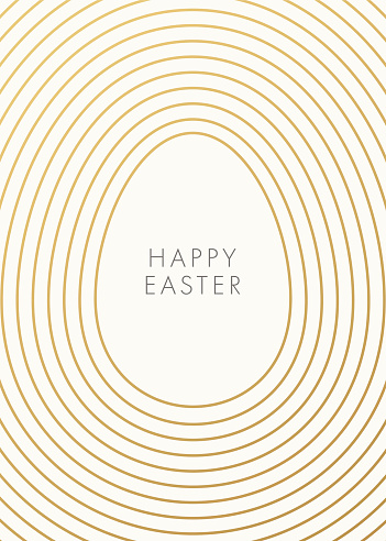 Easter greeting card with golden outline egg on white background.