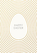Easter greeting card with golden outline egg on white background. Vector illustration. Place for your text. Stock illustration