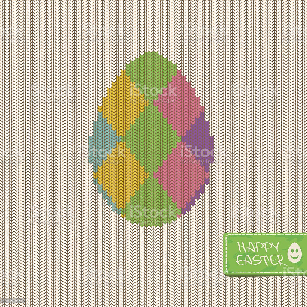Easter greeting card with knitted egg royalty-free stock vector art