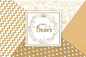 "Easter Greeting Card with paschal hand drawn symbols, hand made trendy lettering ""Happy Easter"" on golden Modern Geometric Background . Vector illustration. Banner, flyer, brochure, postcard, for web"