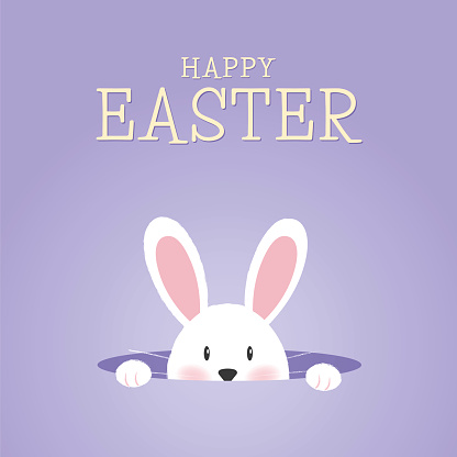 Easter greeting card with rabbit and eggs.