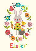 Easter greeting card with rabbit  - vector illustration, eps