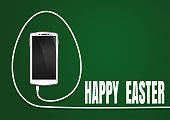 Happy Easter. Easter greeting card. Realistic smartphone, cellphone, mobile phone. Phone wire bent in the shape of a Easter egg. Smartphone isolated on a green background. Vector illustration