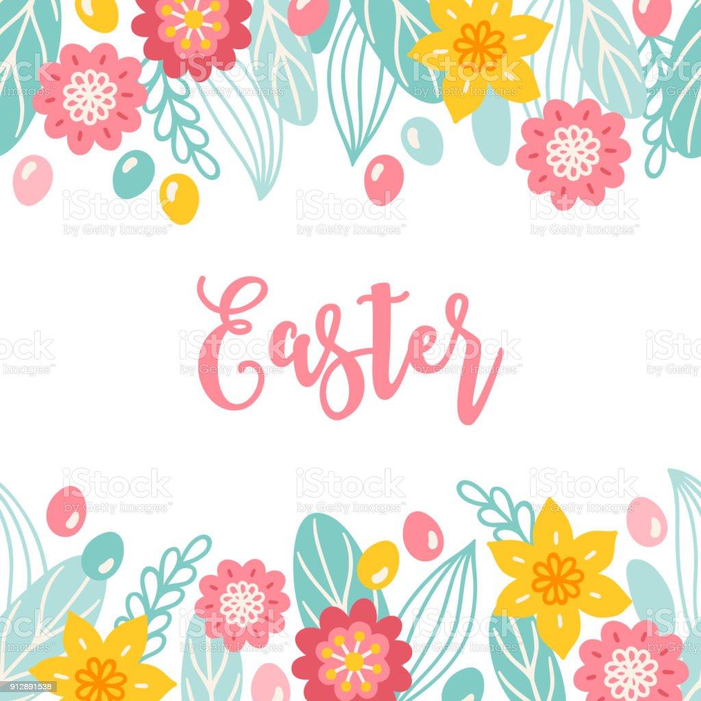 Ostern Grußkarte Mit Nahtlosen Floralen Rahmen Blumen Blätter Eiern ...