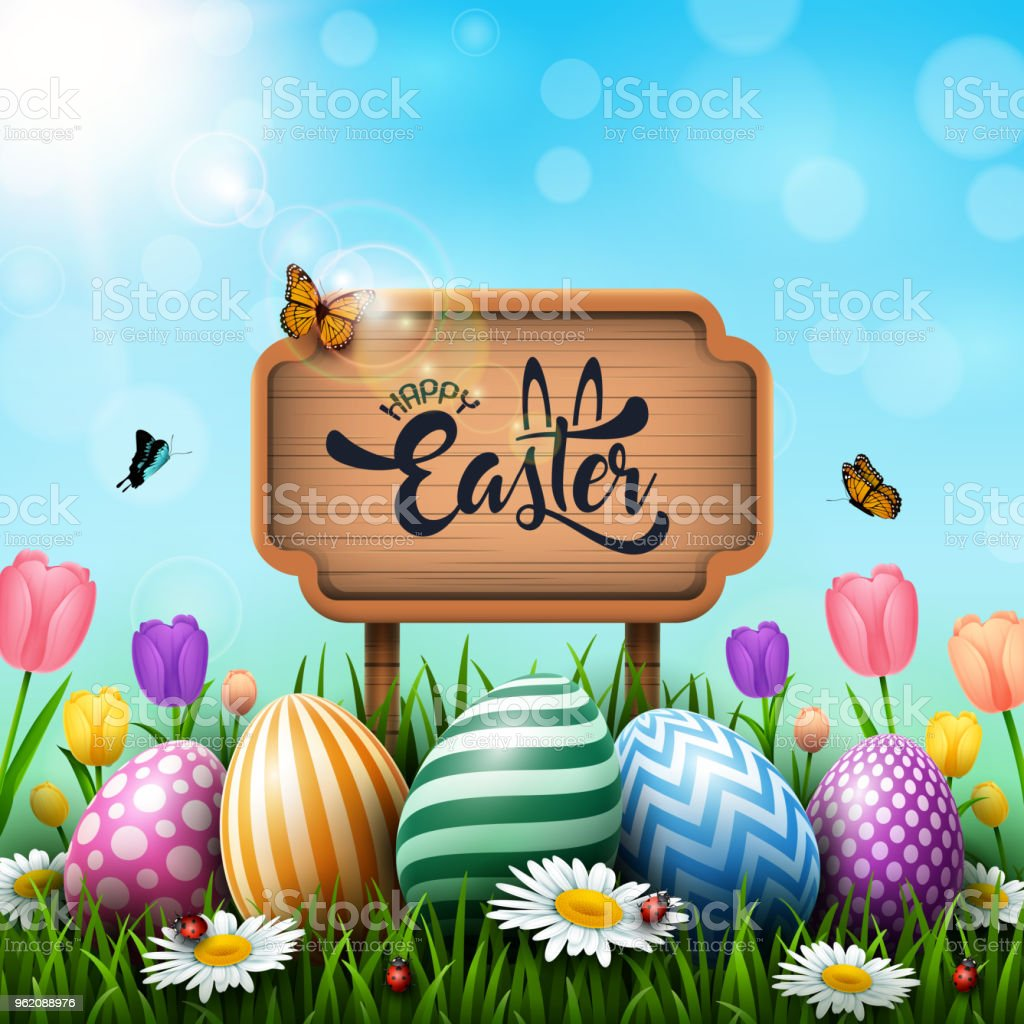 Easter Greeting Card With Wooden Sign And Colorful Eggs And Flowers