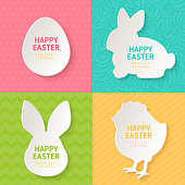 Happy Easter Greeting Cards with Paper Cut Easter Symbols. Vector illustration. Easter Egg, Bunny Rabbit, Chicken. Colorful ornate backgrounds, polka dots, zig zag, stripes.
